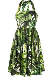 Dolce & Gabbana Vestido Frente Única Com Estampa De Selva - Verde