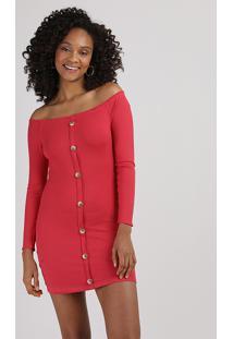 Vestido Feminino Curto Ombro A Ombro Canelado Com Botões E Frufru Manga Longa Vermelho