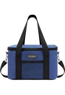 Bolsa Térmica Com Bolso- Azul & Preta- 28X17X18Cmjacki Design