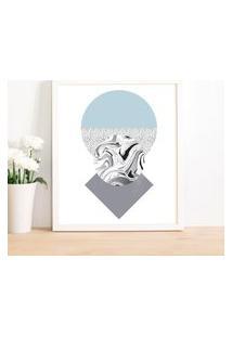 Quadro Decorativo Com Moldura Abstract Blue Branco - 30X40Cm