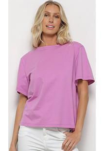 Camiseta Colcci Oversized Maxi Botões Feminina - Feminino-Lilás