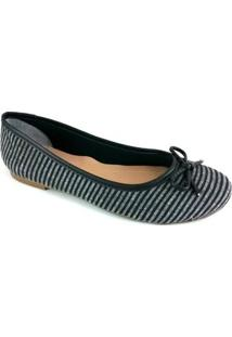 Sapatilha Bico Redondo Sapatoweb Laço Feminina - Feminino-Cinza