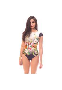 Body Moda Vicio Manga Curta Decote Costas Com Bojo Estampa Fruta