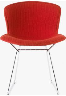 Cadeira Bertoia Revestida - Estrutura Preta Tecido Sintético Off White Dt 0100219376