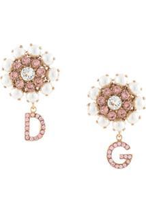 Dolce & Gabbana Par De Brincos Com Aplicação De Logo - Dourado