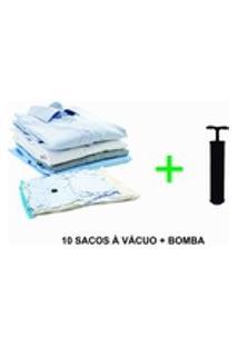 Kit 10 Saco À Vácuo Cobertor Roupa Edredom 50 X 60Cm + Bomba