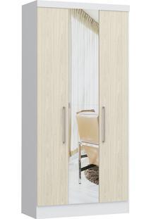 Modulo Com 3 Portas E 2 Gavetas C/ Espelho Infinity 3830A-Castro Móveis - Branco Tx / Nudi
