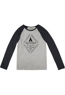 Camiseta Masculina Hering Com Manga Longa Raglan