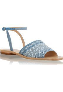 Sandália Rasteira Jeans Com Mini Tachas