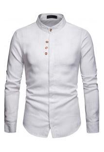 Camisa Masculina Gola Mandarim Design Abotoado Frontal Manga Longa - Branco