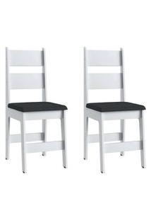Cadeiras Mdf Branca Com O Assento Preto Lilies Móveis