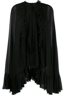 Giambattista Valli Ruffled Long-Sleeved Blouse - Preto