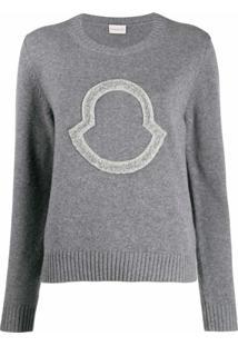 Moncler Suéter Com Logo Bordado De Logo Em Paetês - Cinza