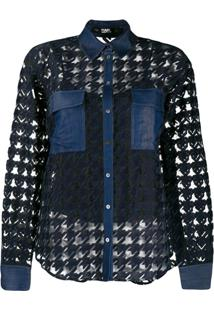Karl Lagerfeld Burn Out Denim Blouse - Preto