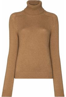 Saint Laurent Roll-Neck Wool Jumper - Marrom