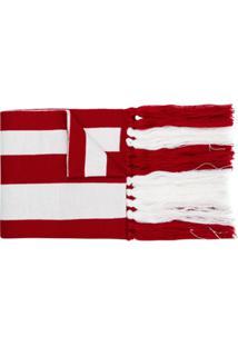 Gcds Cachecol Com Logo E Listras - Vermelho