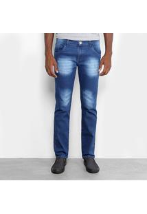 Calça Jeans Slim Preston Bigode Masculina - Masculino-Azul Claro