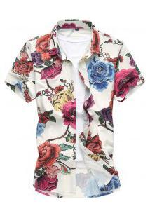 Camisa Masculina Com Estampa De Rosas Coloridas