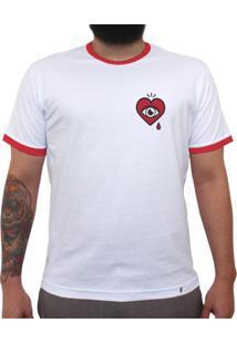 Abra Los Ojos - Camiseta College Masculina Golas Vermelhas