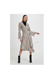 Vestido Midi De Viscose Estampa Listra Miraglia Com Recortes Est Listra Miraglia Victoria E Rosa¨ - 44