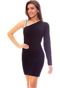 Vestido Moda Vicio Justo Um Ombro Só Manga Longa Alça Listrada Feminino - Feminino-Preto