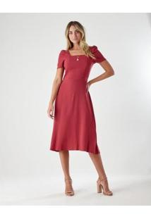 Vestido Ajustado Mangas - Feminino-Vermelho