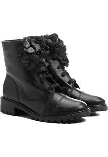 Bota Couro Coturno Shoestock Flores Feminina - Feminino