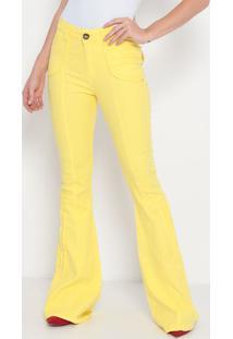 Calça Super High Flare Texturizada- Amarela- Lança Plança Perfume