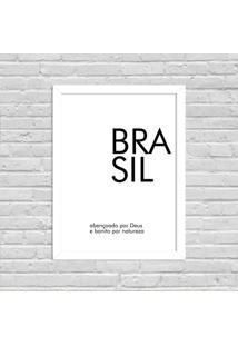 Quadro Decorativo Minimalista Brasil Branco - Grande