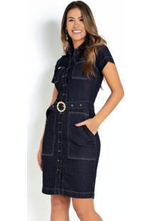 Vestido Jeans Escuro Sawary Com Cinto