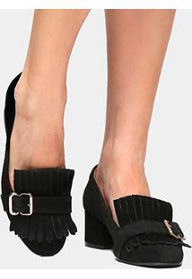 Scarpin Couro Shoestock Salto Médio Franja - Feminino-Preto