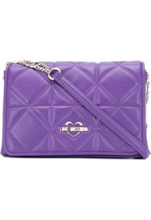 Love Moschino Quilted Logo Shoulder Bag - Roxo