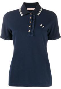 Tory Burch Camiseta Polo Com Babados - Azul