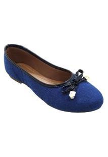 Sapatilha Maisapato Bico Redondo Jeans Azul