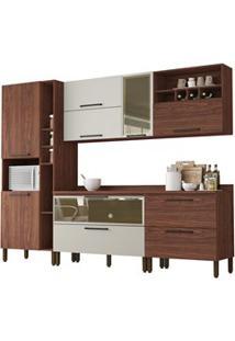 Cozinha Modulada 7 Peças Viv Concept C05 Nogueira/Off White - Kit´S Pa