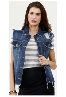 Colete Feminino Destroyed Botões Five Jeans