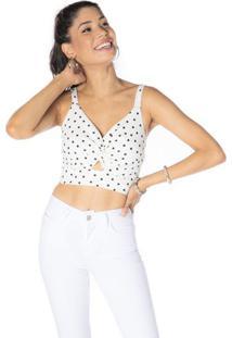 Blusa Cropped Torcida Com Vazado - Branca & Pretadwz