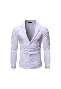 Camisa Masculina Gola V Funda - Branca