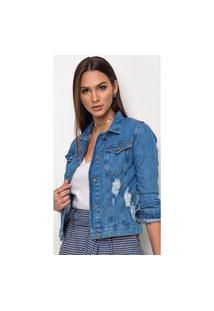 Jaqueta Jeans Express Melly Destroyed Azul
