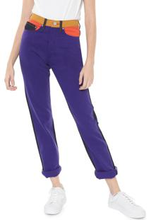 Calça Sarja Calvin Klein Jeans Reta Color Block Roxo/Azul-Marinho