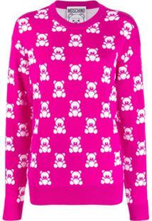 Moschino Jacquard Teddy Bear Sweater - Rosa