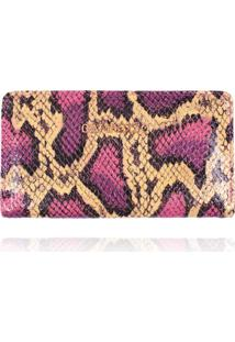 Carteira Flat Campezzo Couro Snake Pink - Amarelo/Cobra/Estampado/Multicolorido/Pink - Feminino - Dafiti