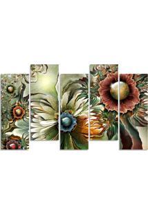 Quadro Decorativo Para Sala Quarto Flor Abstrato Aquarela - Multicolorido - Dafiti