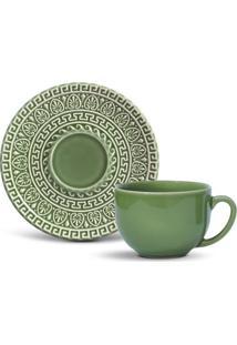 Xícara De Chá Greek Cerâmica 6 Peças Sálvia Porto Brasil