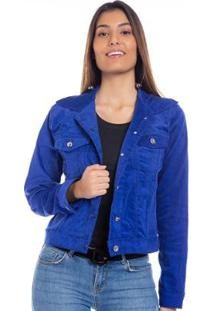 Jaqueta Feminina Hiatto Veludo Super Star - Feminino-Azul
