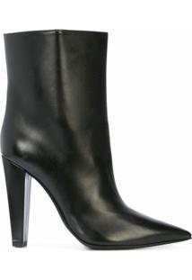 Poiret Ankle Boot De Couro - Preto