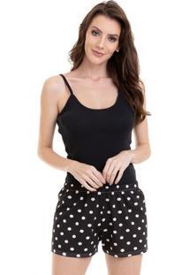 Pijama Short Doll Alcinha Estampado Em Algodão Feminino Luna Cuore