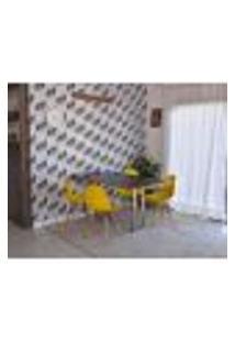 Conjunto De Mesa Dobrável Retrátil 1,40 Preto/Noronha Inox + 4 Cadeiras Eiffel - Amarela