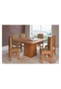 Conjunto De Mesa Com 6 Cadeiras Benjamin Suede Canela