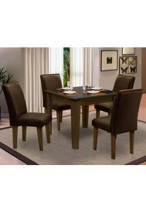 Sala De Jantar Saint Michel Com 4 Cadeiras – Dobuê Movelaria - Castanho / Preto / Chocolate